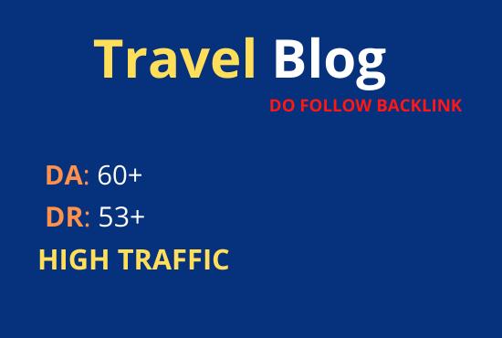 Guest post on travel blog dofollow backlink