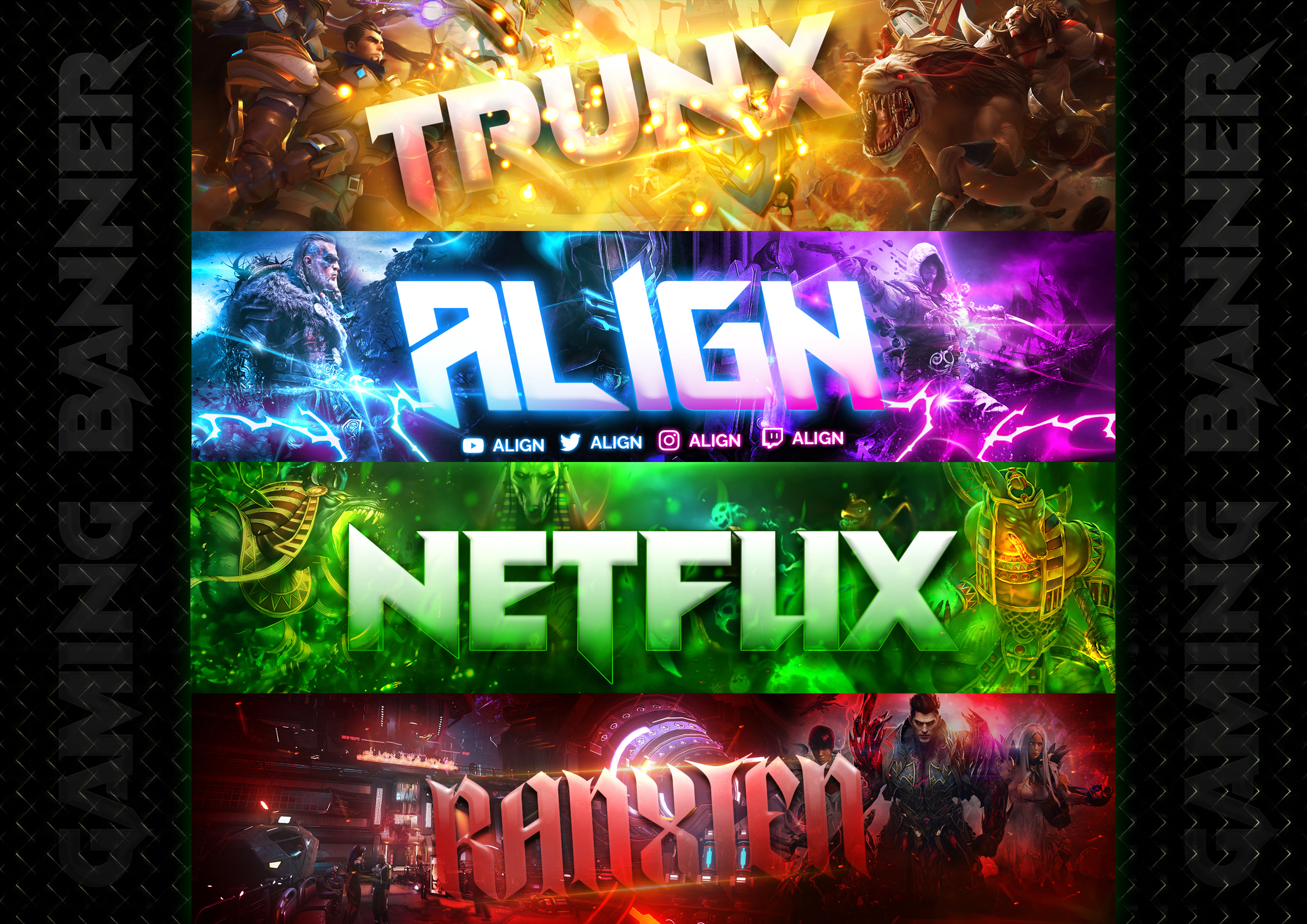 I will design gaming banner,  YouTube Banner,  twitter Banner,  twitch,  etc 24 hrs