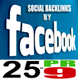 25 PR 9 Search engine indexing permanent backlinks by 25 Facebook fanpages with admin promotion