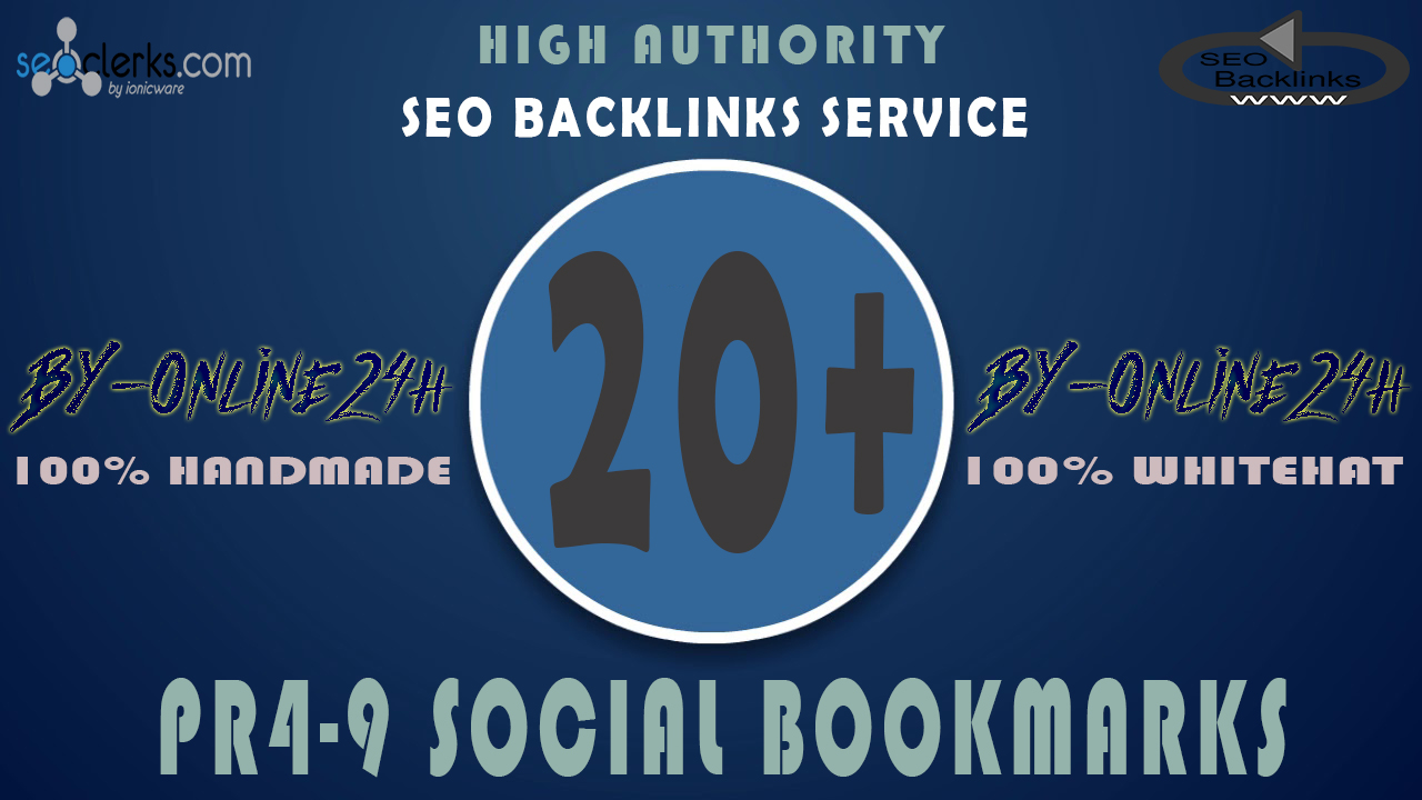 20+ High Authority PR4-9 Social Bookmarks only
