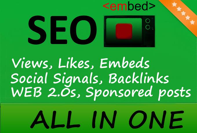 20,000 YouTube Views, 750 Embeds, 50 PR9 Social Signals