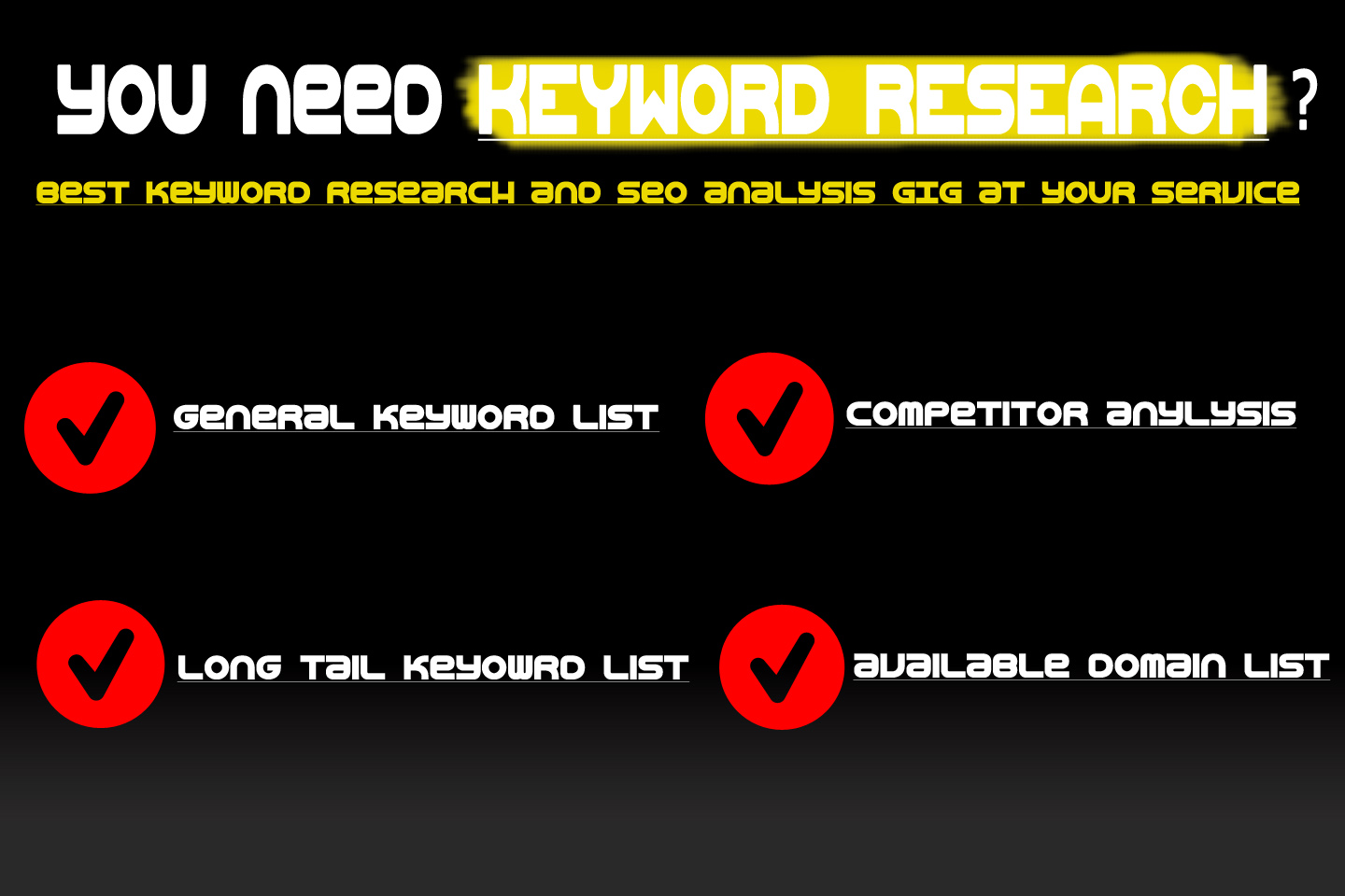 indepth KEYWORD research,  seo analysis and domain research
