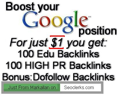 create 100 Edu Backlinks +100 High PR Backlinks