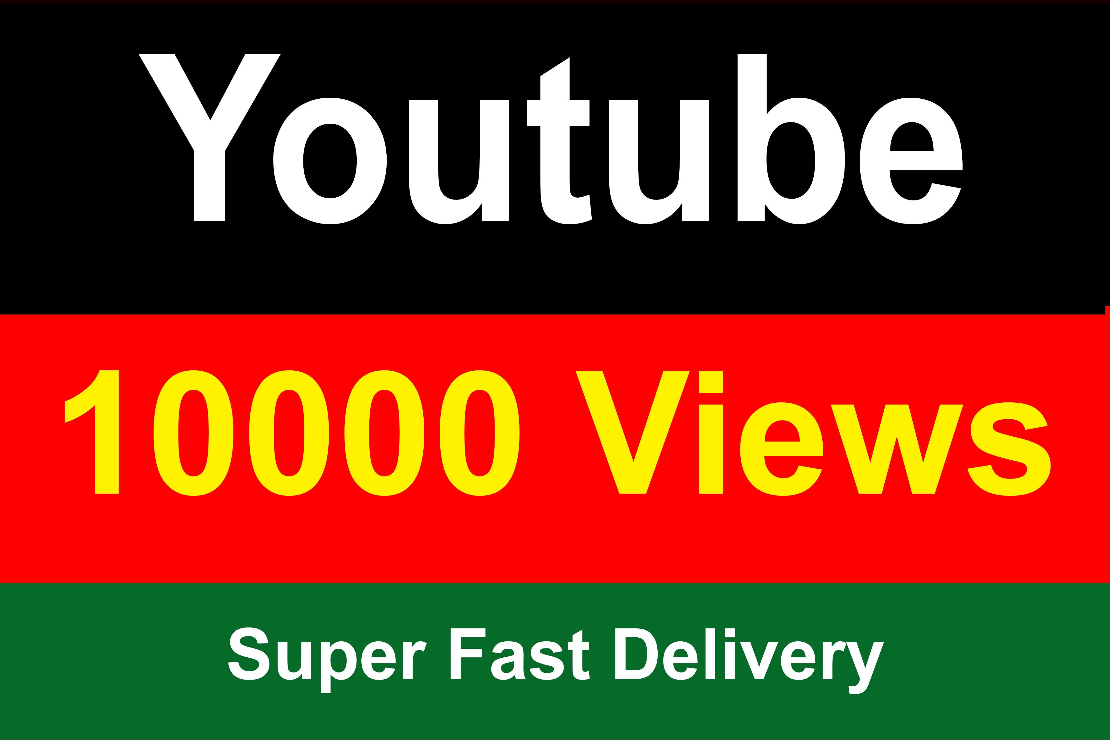 10000 Youtube Vie ws Instant Start Refile Guaranteed