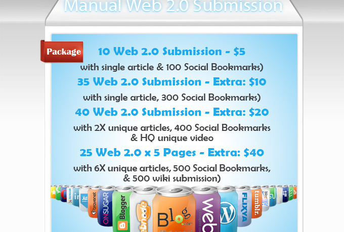 provide Manual Web20 Blog Writing and Submission Service
