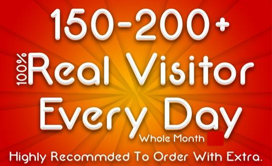 drive 150 to 200+ Real Visitor Daily For One Month+Tweet On 100K Followers+Bonus
