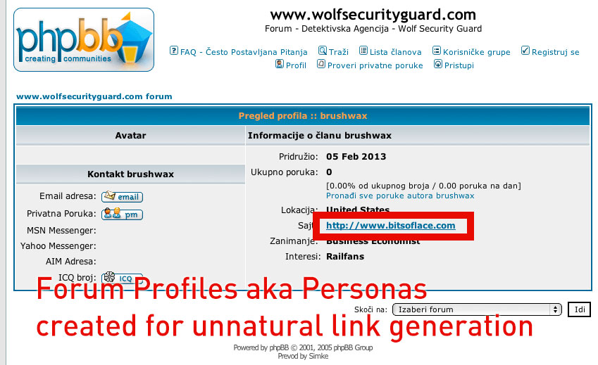 Create angelina and paul type 30 PR6 to PR9 Forum Profile with anchor text in Profile page