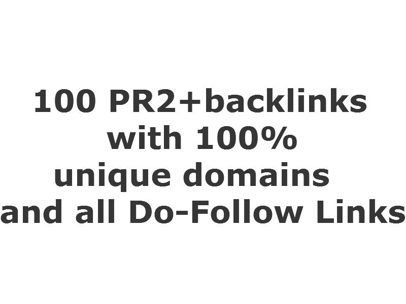 100 PR2+ Unique domains, low OBL less than 100 (do-follow) Backlinks)