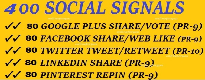 400 SOCIAL SIGNALS SEO BACKLINK BOOKMARK SHARE FROM G... for $2