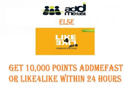 2000 Like4like or addmefast Points within 12-24 hours
