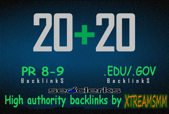 Give you 20 PR 8-9 authority profile+20 .EDU/.GOV backlinks