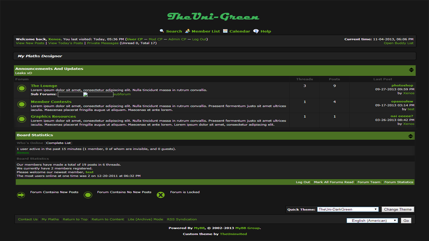 Simple mybb dark theme!( TheUni-DarkGreen)