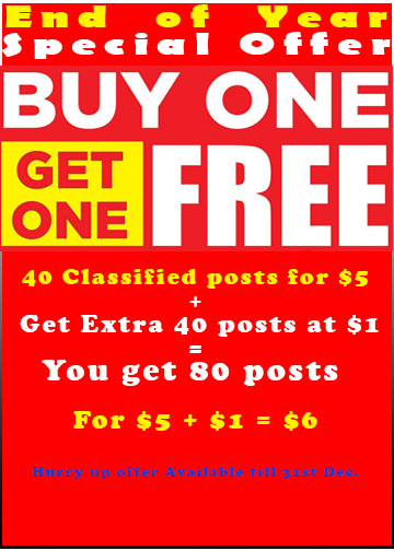 Buy1 Get 1 Free : Post 40 Times Your Product Ad on USA Classified Websites