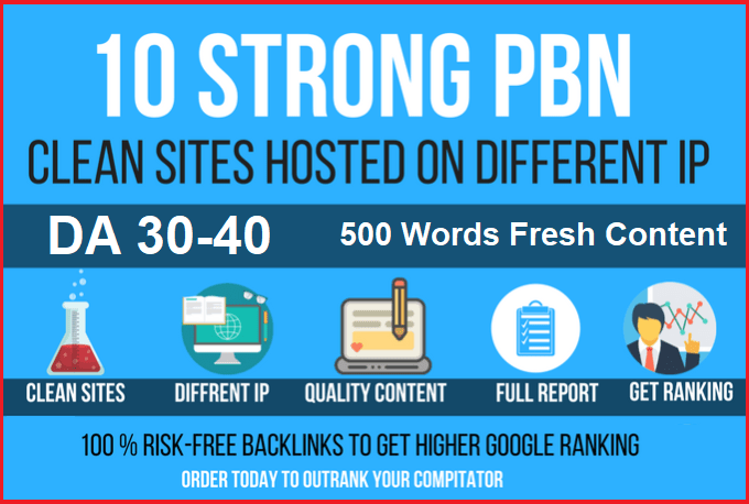 10 Permanant Manual High DA 30 - 40 Homepage Dofollow PBN Backlinks