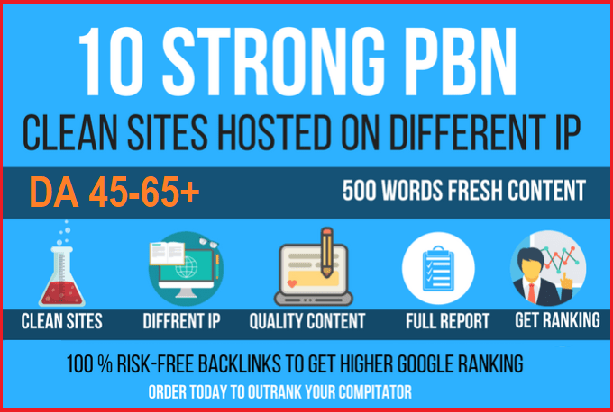 10 Permanant Manual High DA 30 - 40 Homepage Dofollow PBN Backlinks