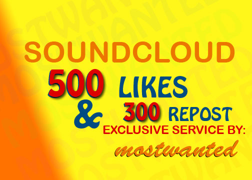 SOUNDCLOUD 500 LIKES AND 300 REPOST SPLIT UPTO 10 TRACKS