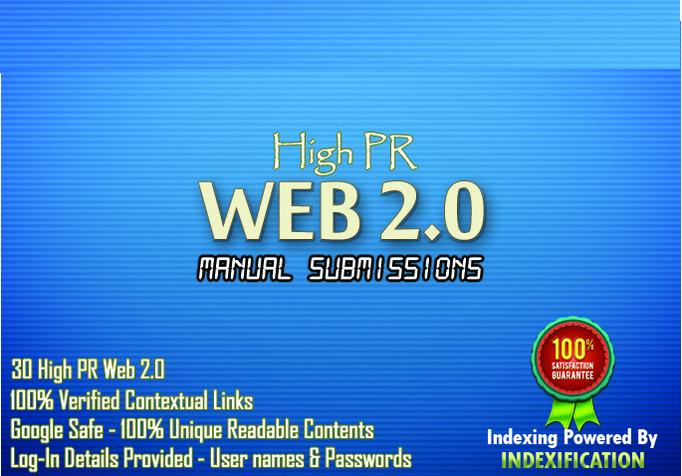 Prepare 30 submission using 15 High PR web2 and article directories for your SEO