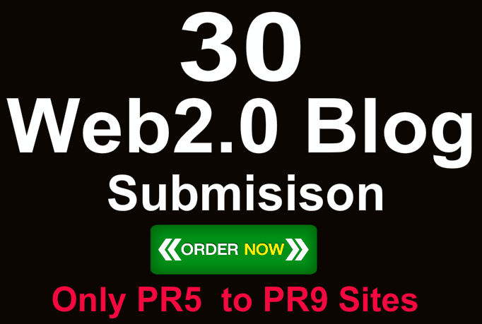 Create 30 Do Follow White hat PR9 Web 2 Blogs with diversify keyword and URL
