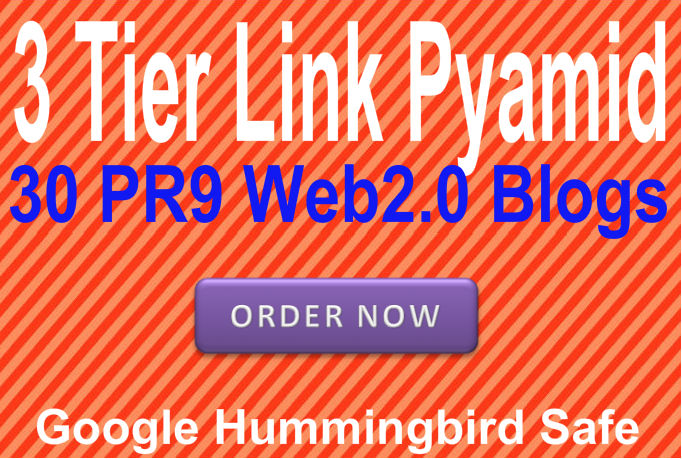 Provide 3 Tier Link Pyramid using 30 PR9 web2 Blogs Best for Seo