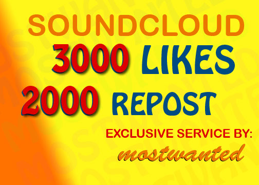3000 LIKES AND 2000 REPOST SPLIT UPTO 20 TRACKS