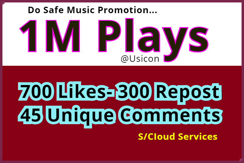 1M Safe Plays and 700 Likes-300 Repost 45 Unique Comments