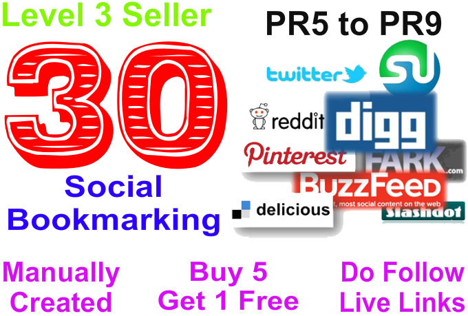 Provide 30 Social Bookmarks to your website using PR5 to PR9 Websites
