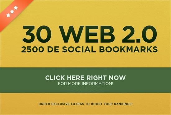 make 30 web 2,0 properties + 2500 social bookmarks LlNKJUICE seo backlinks