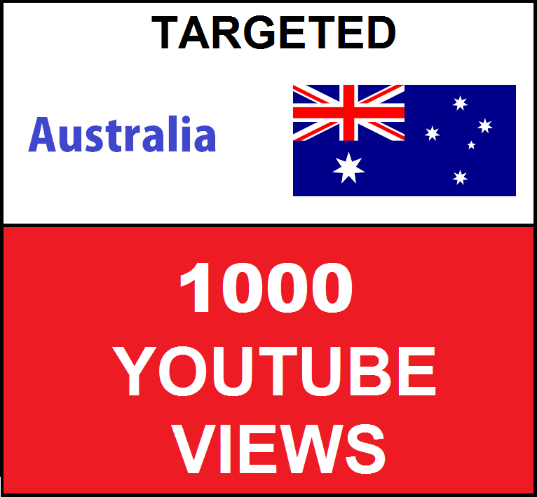 Added 1,000 Australia Targeted Youtube Views