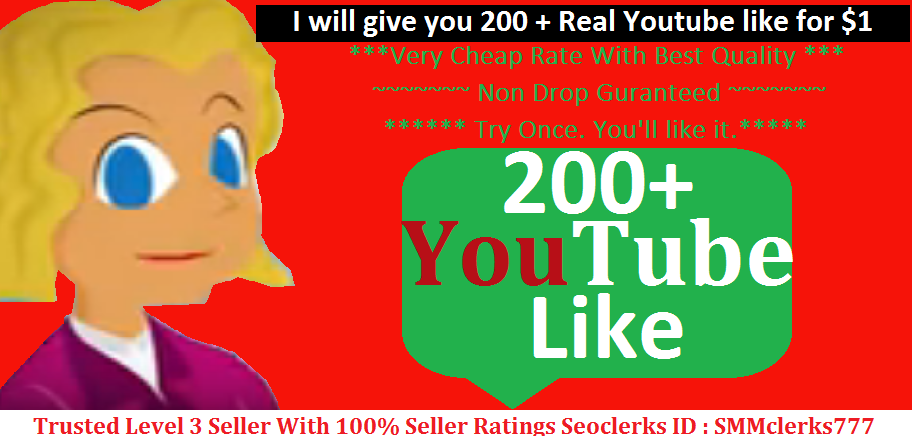 I will give you 200 ++ Real Youtube like