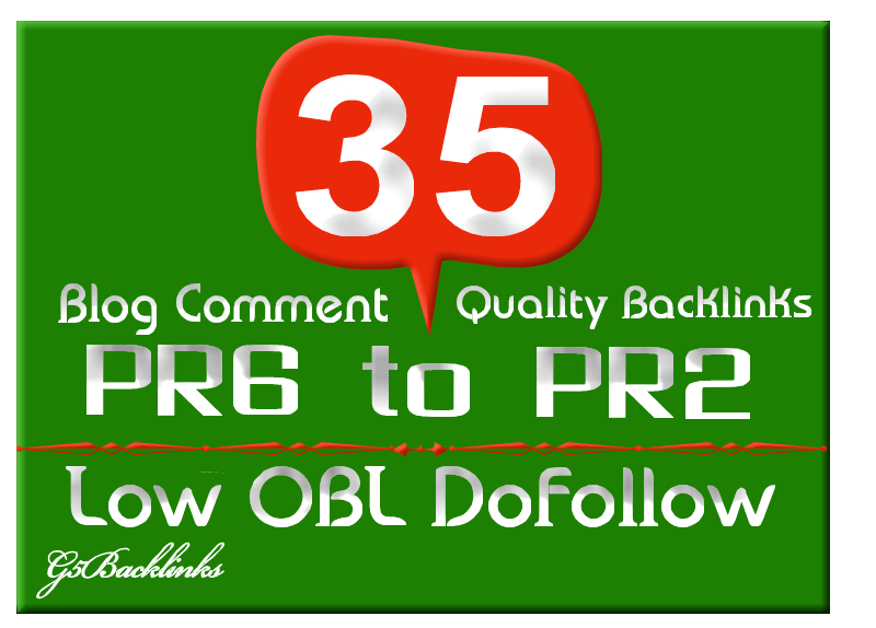 I will blog 35 Low Obl Blog Comment backlinks dofollow highpr Pr6 to Pr2
