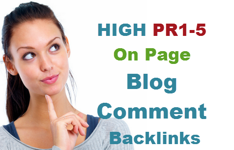 20 dofollow Blog comment backlinks from high pr3 to pr7 sites and with pr on page
