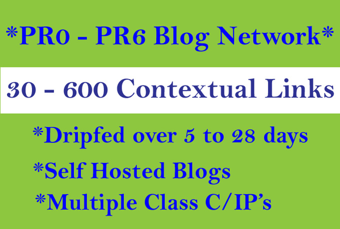 dripfeed 30 to 600 Contextual BLOGPOST Links over 6 to 28 days
