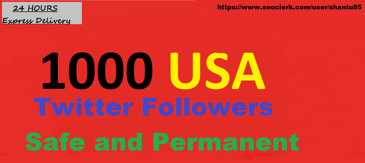 i will provide you 1000+ USA Twitter Folowers Best Quality in 24 hours just