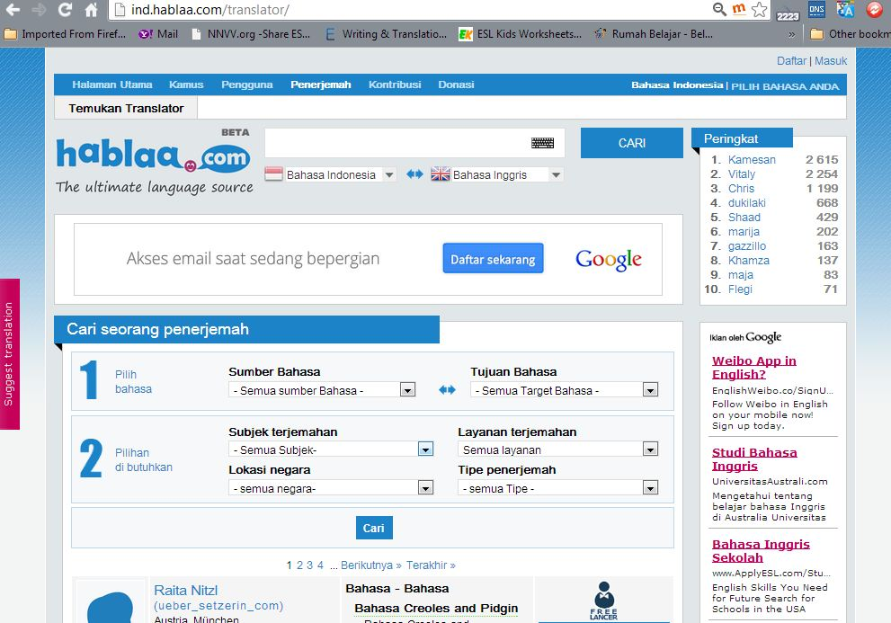 Web localization to Indonesian