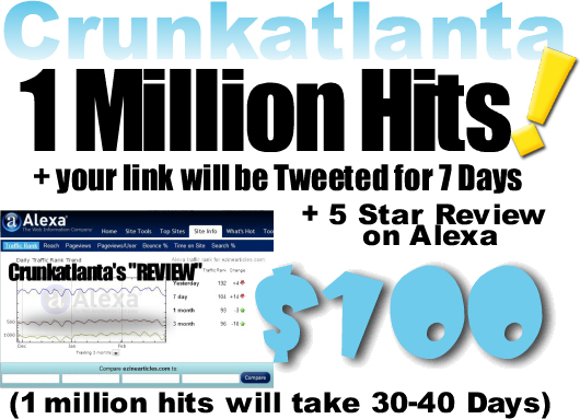 send 1,000,000 visitors to your site plus Alexa Review and link to be Tweeted