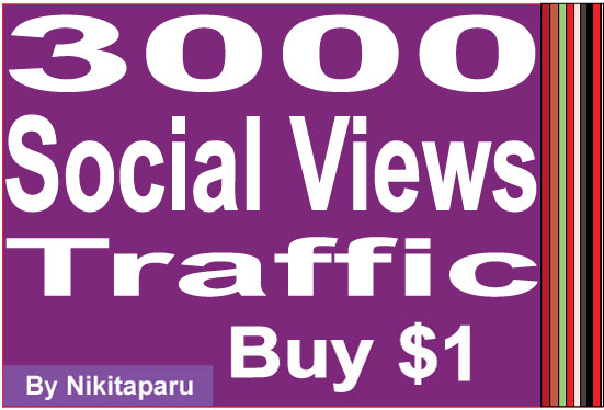 Instantly add 3000 Social Views Traffic