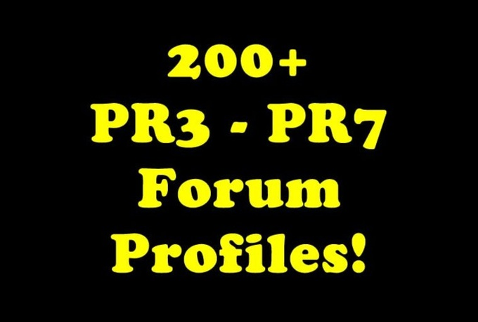 I will create 200+ HIGH authority PR3 to PR8 forum profile backlinks and Ping them