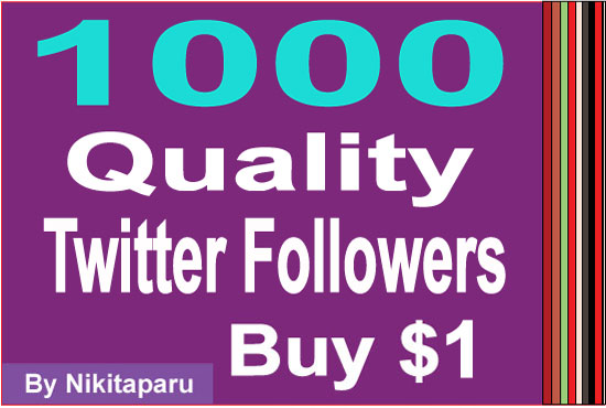give you verified 1000+ real t-witter followers not fake for $1