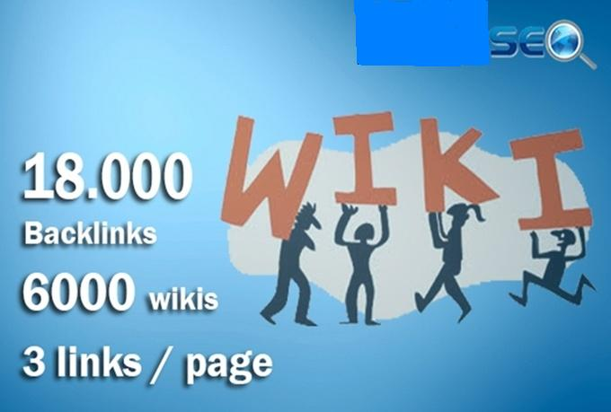 I will do 18000 contextual backlinks from 6000 WIKI pages including real seo edu links