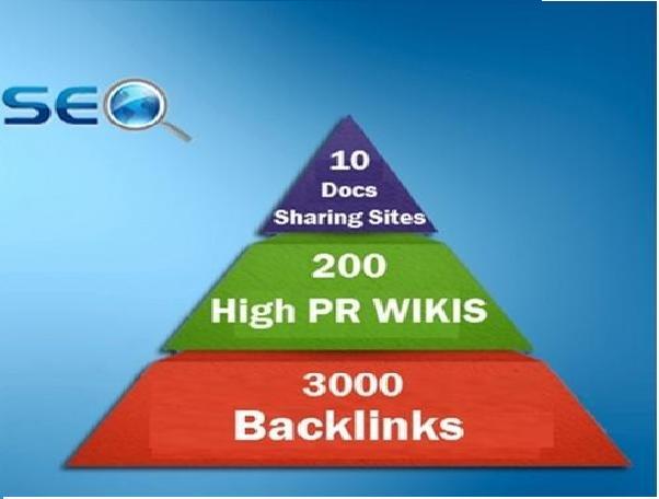 I will do seo linkpyramid 10 docs or pdf sharing sites, 200 high pr wiki 3000 backlinks