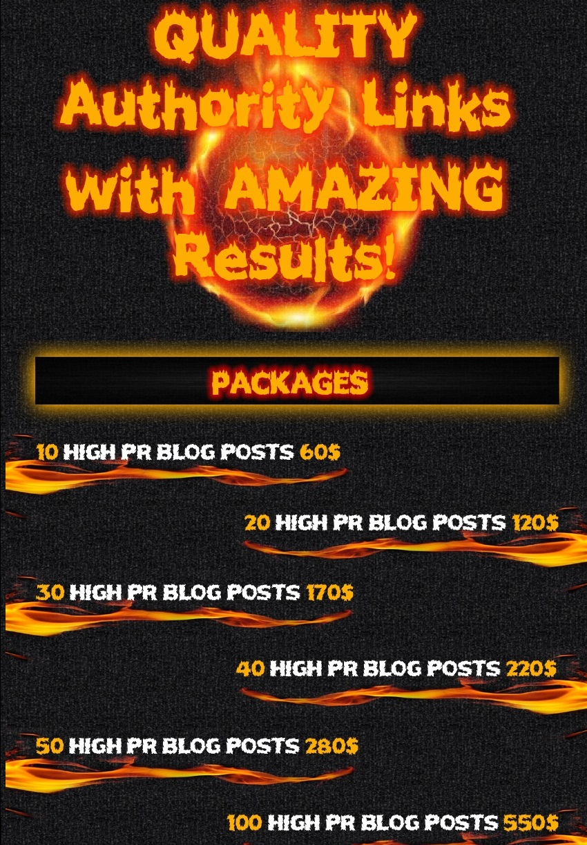 quality powerfull authority links (20 High PR Posts) WITH 100% Unique Content (buy 2 get 2 free)