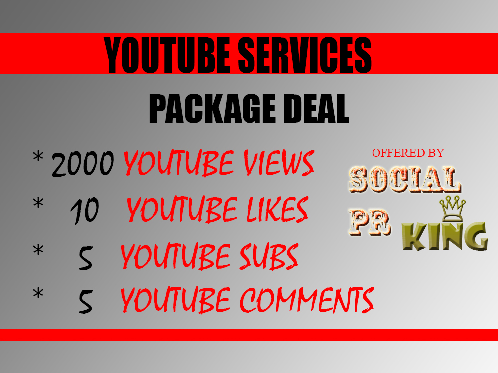 I will give you 2000+ youtube views+ 10 couple youtube likes, 5 subs and 5 custom comments package