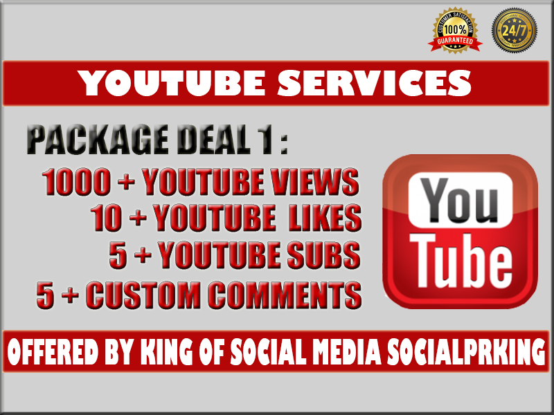 I will give you 1000 - 1500+ YT Video views+ 10 yt likes, 5 subs and 5 custom comments