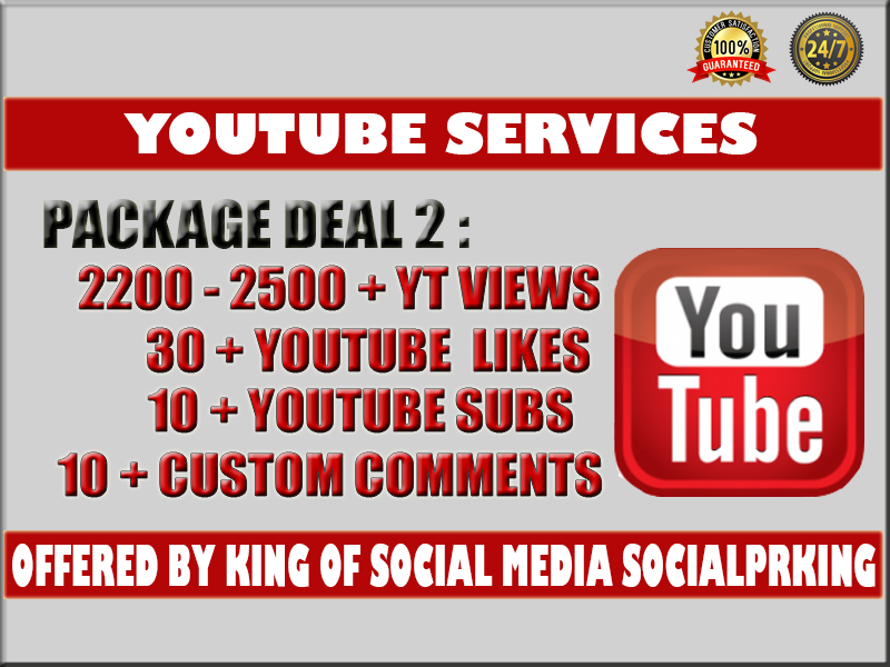 I will give you 2500 YT views + 30 YT likes + 10 subscribers and 10 custom yt comments package