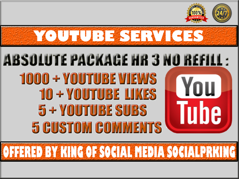 Absolute High Retention Package 3 will give 1000 YT High Retention + 10 thumbs up + 5 audience + 5 reactions