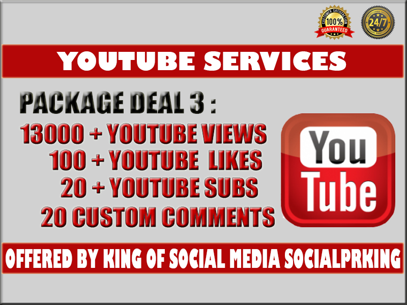 Normal Package 3 will give you 13000 + Youtube Retention views+ 100 Yt likes, 20 subs and 20 custom comments plus ping and index your video