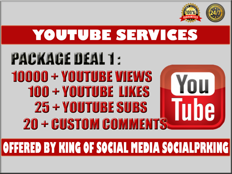 I will give you 10000 YT Video vie ws + 100 yt lik es,  25 subs and 20 custom comments