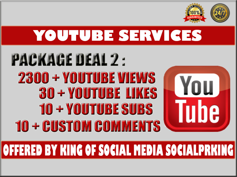 I will give you 2300 - 2500 YT Video views + 30 yt likes,  10 subs and 10 custom comments