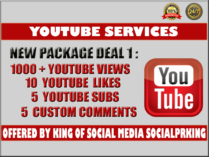 Super Package 1 will provide 1000 YT Views + 10 likes + 5 YT Comments + 5 Subscription