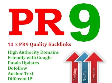 Manually create 10 backlinks pr9 and High PR